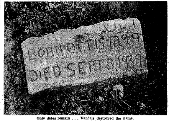 This is a 1967 pic of an unnamed gravestone at Potter's Field in North Omaha, Nebraska.