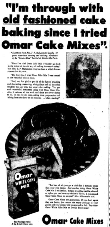 1948 Helen Mahammitt advertisement for Omar Cake Mixes