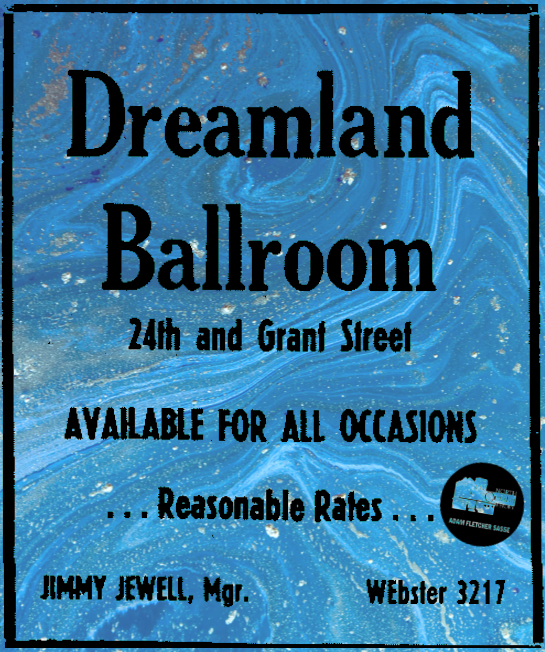 Dreamland Ballroom in the Jewell Building, North 24th and Grant Streets, North Omaha, Nebraska.