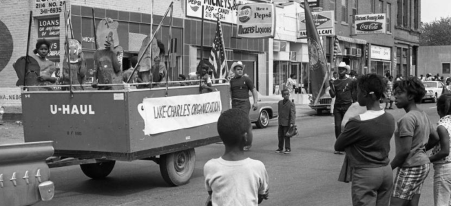 Lake-Charles Community Organization parade float, North Omaha, Nebraska