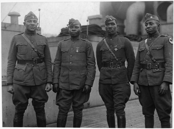 "These are US Army ""Buffalo Soldiers"" in WWI."