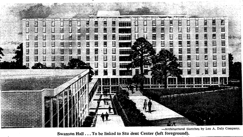 1960s drawing of Swanson Hall, Creighton University, Omaha, Nebraska