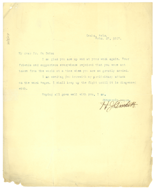 Letter from H. J. Pinkett to W.E.B. Du Bois, February 27, 1917.
