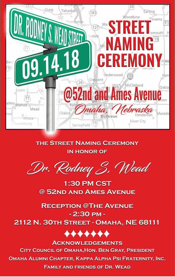 Dr. Rodney S. Wead Street Naming Ceremony, August 14, 2018, North Omaha, Nebraska