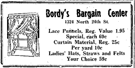 Bordy's Bargain Center, 1324 North 24th Street, North Omaha, Nebraska