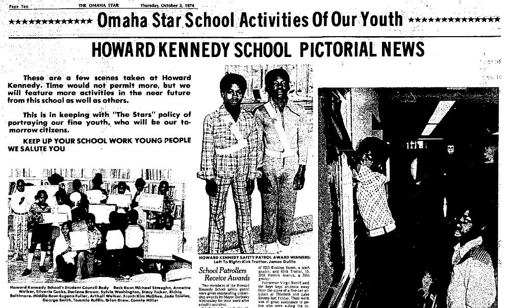 1974 Omaha Star article on Howard Kennedy School
