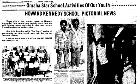 1974 Omaha Star article on Howard Kennedy School
