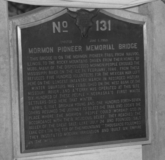 Mormon Pioneer Memorial Bridge historical marker, North Omaha, Nebraska