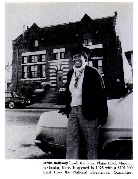 Bertha Callow in front of the Great Plains Black History Museum in North Omaha, Nebraska