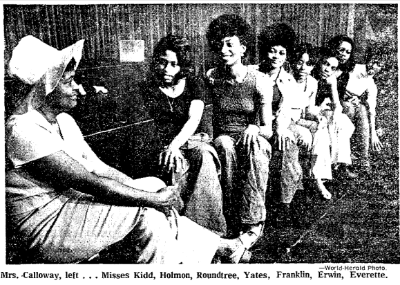 Bertha Calloway with contestants in the 1973 Miss Black Nebraska pageant