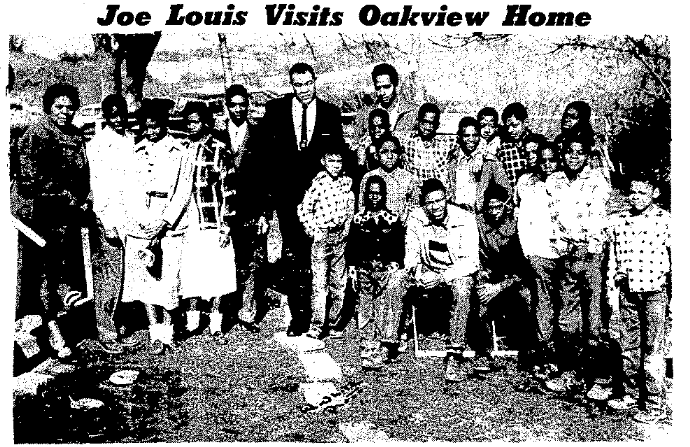 Joe Louis at Oak View Home, North Omaha, Nebraska 1954