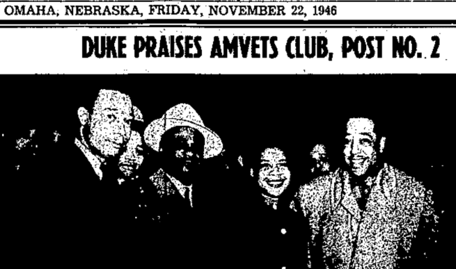 Duke Ellington at the AmVets Club in North Omaha, Nebraska in 1946