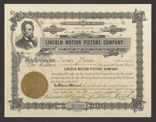 Lincoln Motion Picture Company stock certificate