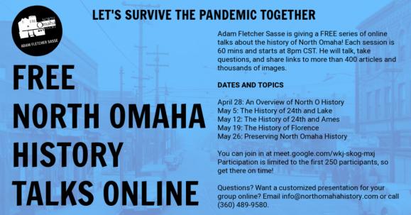 Free North Omaha History Talks Online, April-May 2020