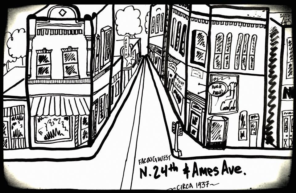 """Facing West N. 24th and Ames Streets circa 1937,"" ©2019 Adam Fletcher Sasse for NorthOmahaHistory.com"
