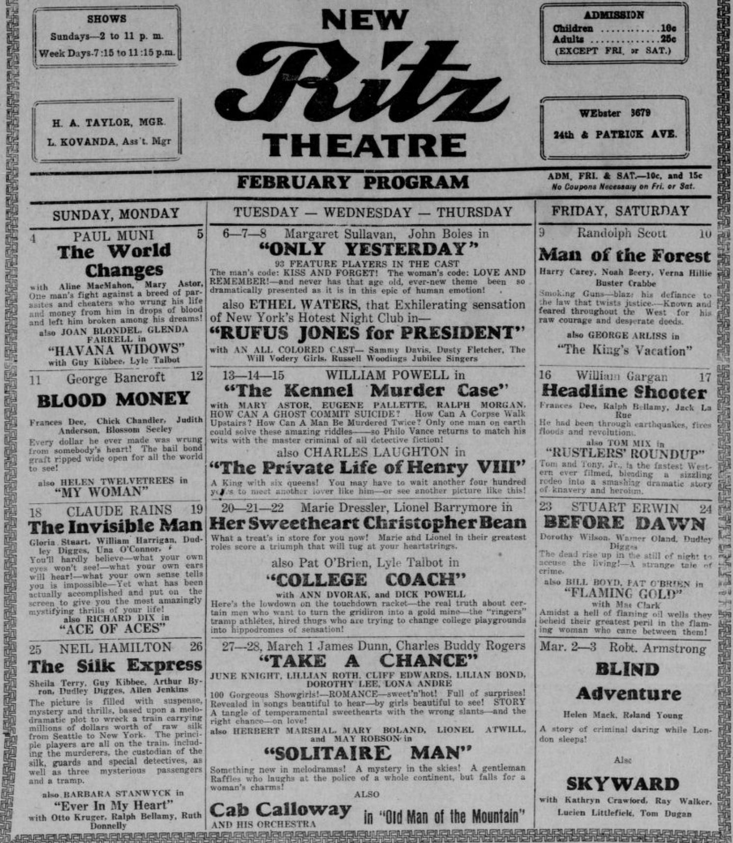 Ritz Theatre at N. 24th and Patrick Streets, North Omaha, Nebraska.