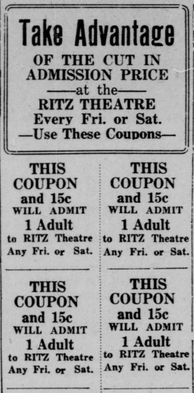 1939 Ritz Theatre coupons, North Omaha, Nebraska