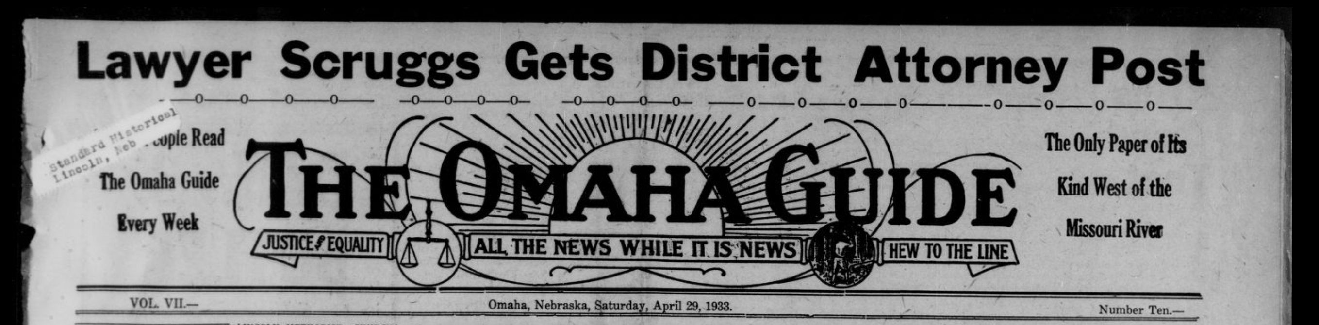 April 29, 1933 banner The Omaha Guide