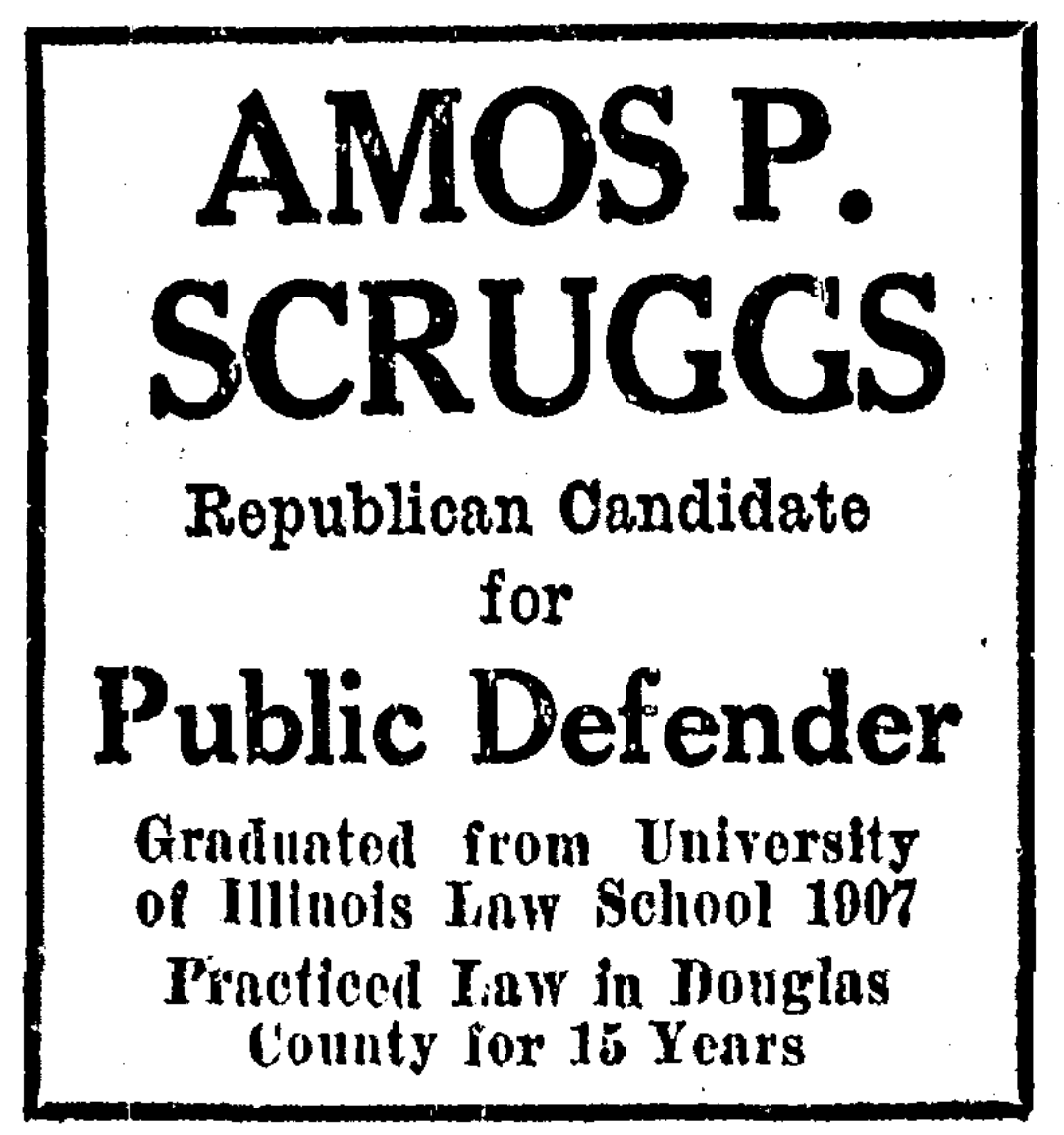 Amos P. Scruggs for Douglas County Public Defender in 1928