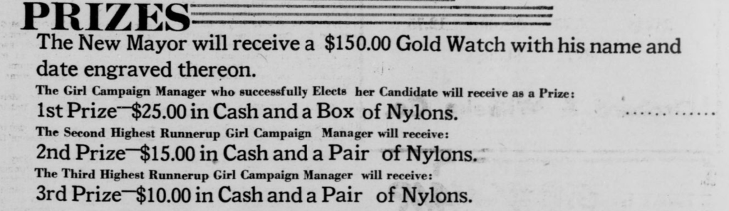 """This 1947 ad from the Omaha Guide shares the prizes for the election of the """"Mayor of Bronzeville"""" competition in North Omaha."""