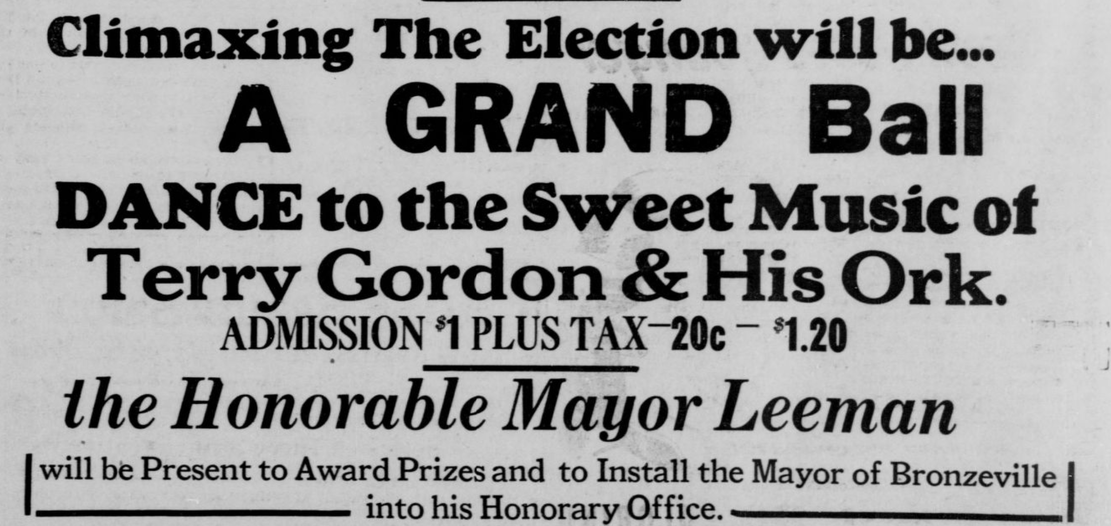 """This 1947 ad from the Omaha Guide promotes the event for the coronation of the """"Mayor of Bronzeville"""" competition in North Omaha."""