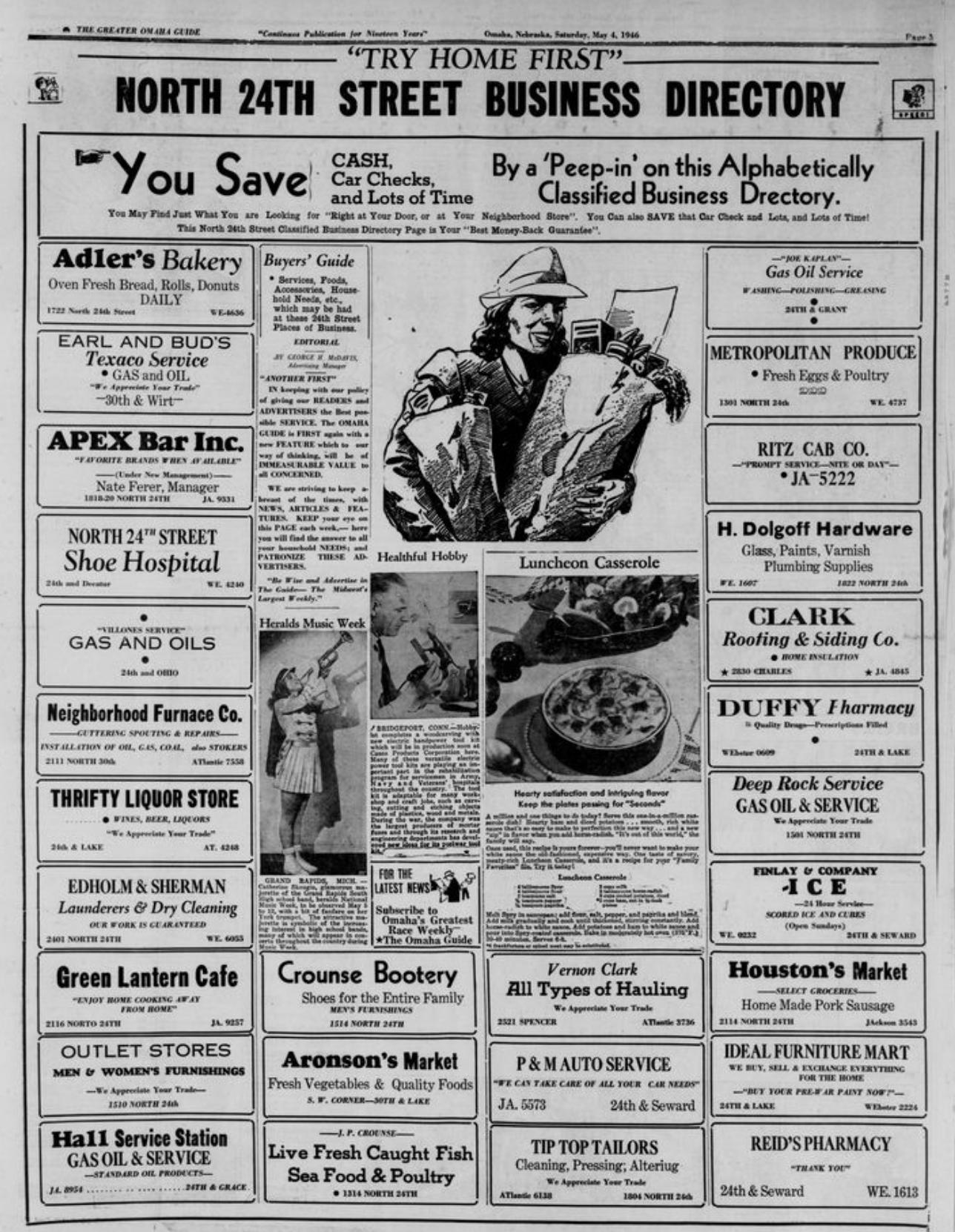 1940 Omaha Guide North 24th Street Directory, North Omaha, Nebraska