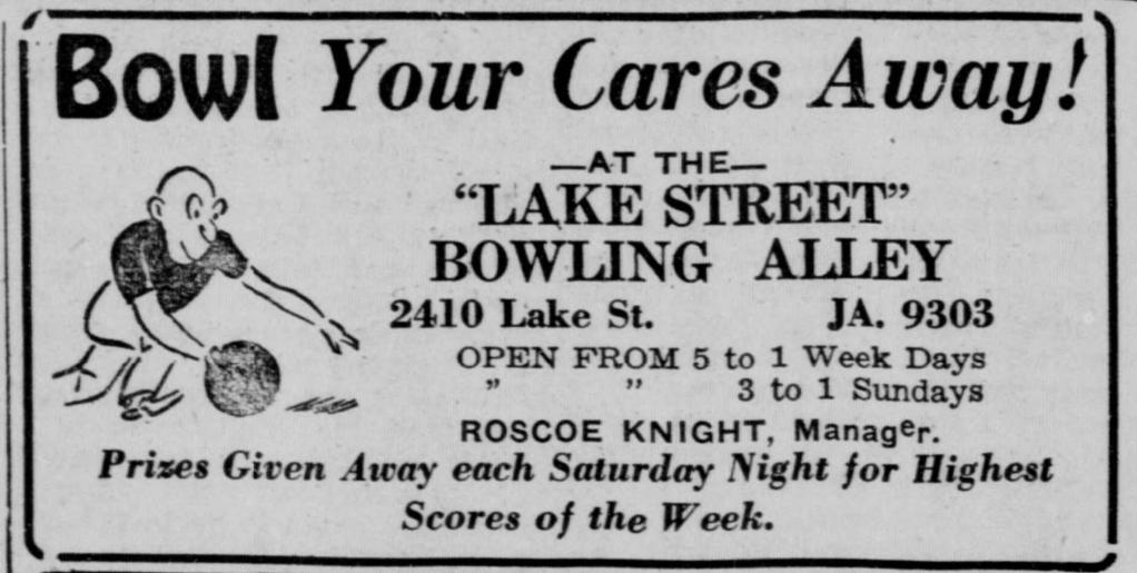 Lake Street Bowling Alley, 2410 Lake Street, North Omaha, Nebraska