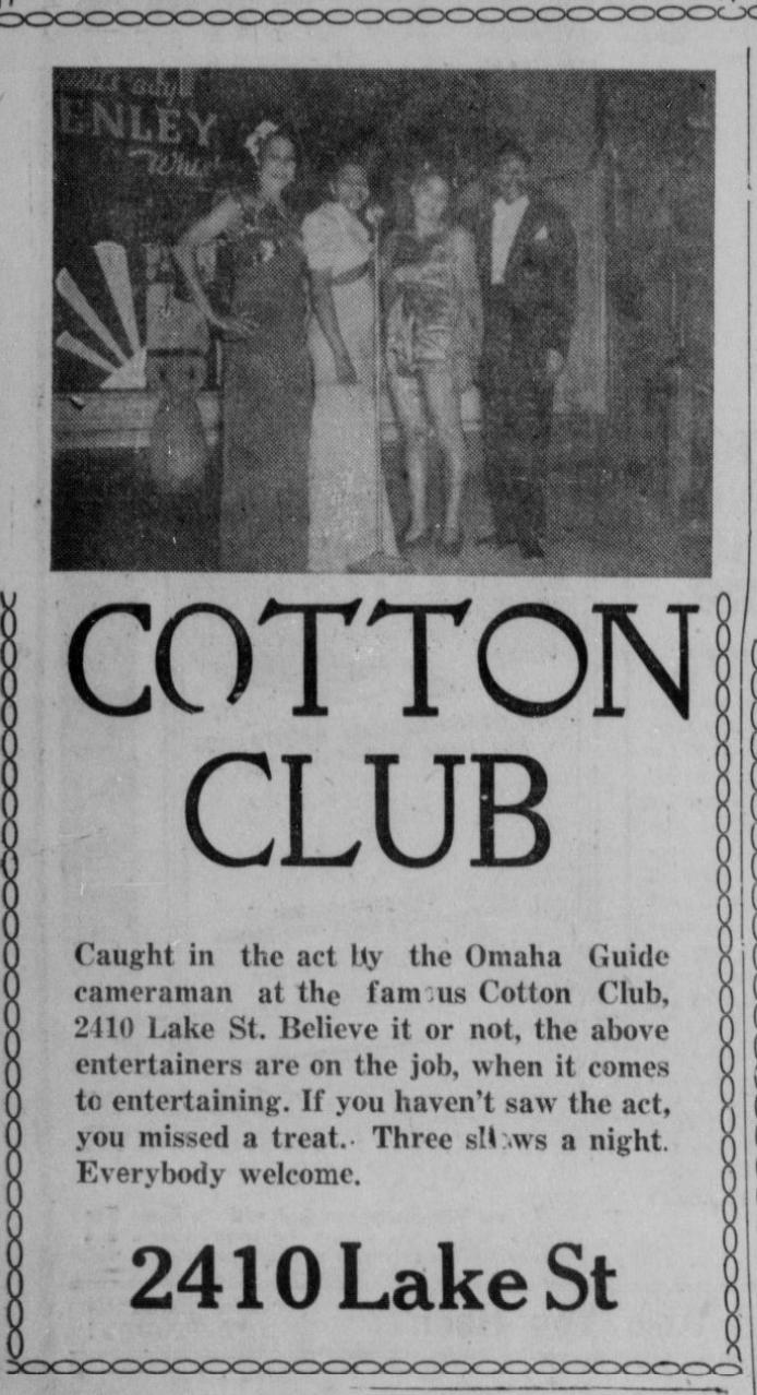 Cotton Club, 2410 Lake Street, North Omaha, Nebraska