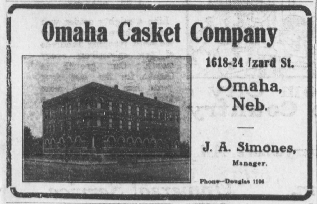 Omaha Casket Company factory, 1618-24 Izard Street, North Omaha, Nebraska