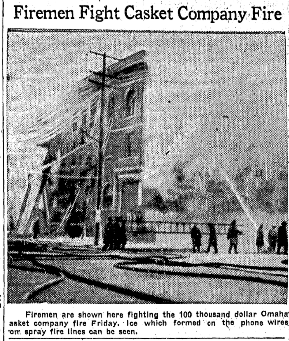 1933 Omaha Casket Company factory fire, N. 16th and Izard Street, North Omaha, Nebraska