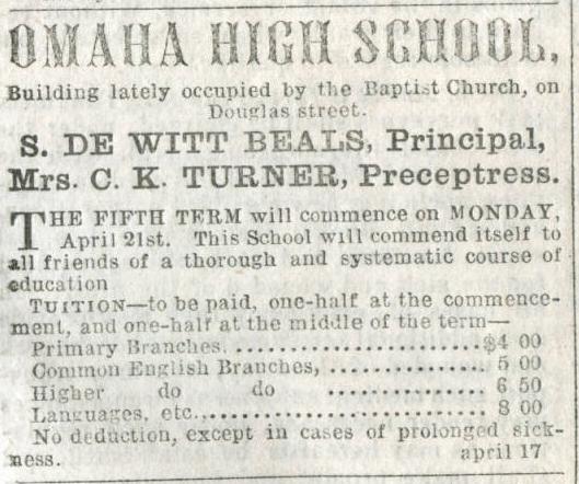 1862 Omaha High School, Omaha, Nebraska