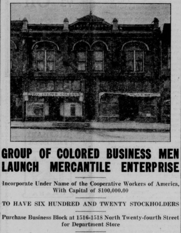 Cooperative Workers of America Department Store, 1516-1518 North 24th Street, North Omaha, Nebraska