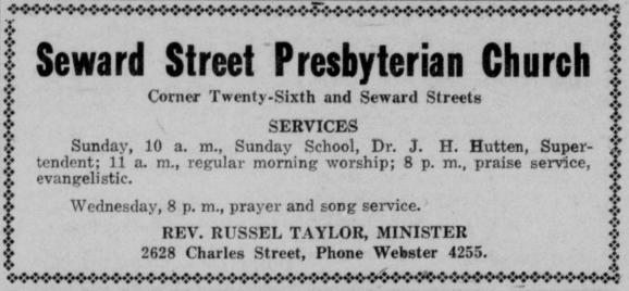 Seward Street Presbyterian Church., Rev. Russel Taylor, 2628 Charles Street, North Omaha, Nebraska.