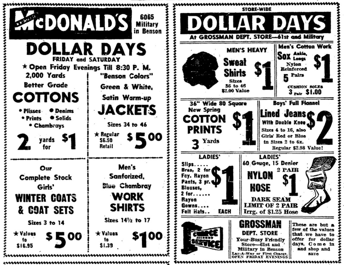 1954 Benson, Omaha department store ads