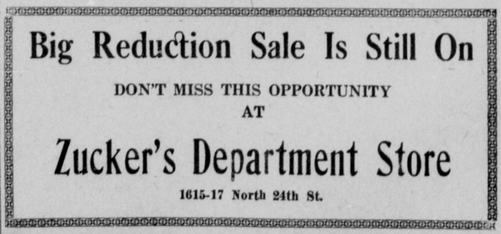 Zucker's Department Store, 1619 N. 24th Street, North Omaha, Nebraska