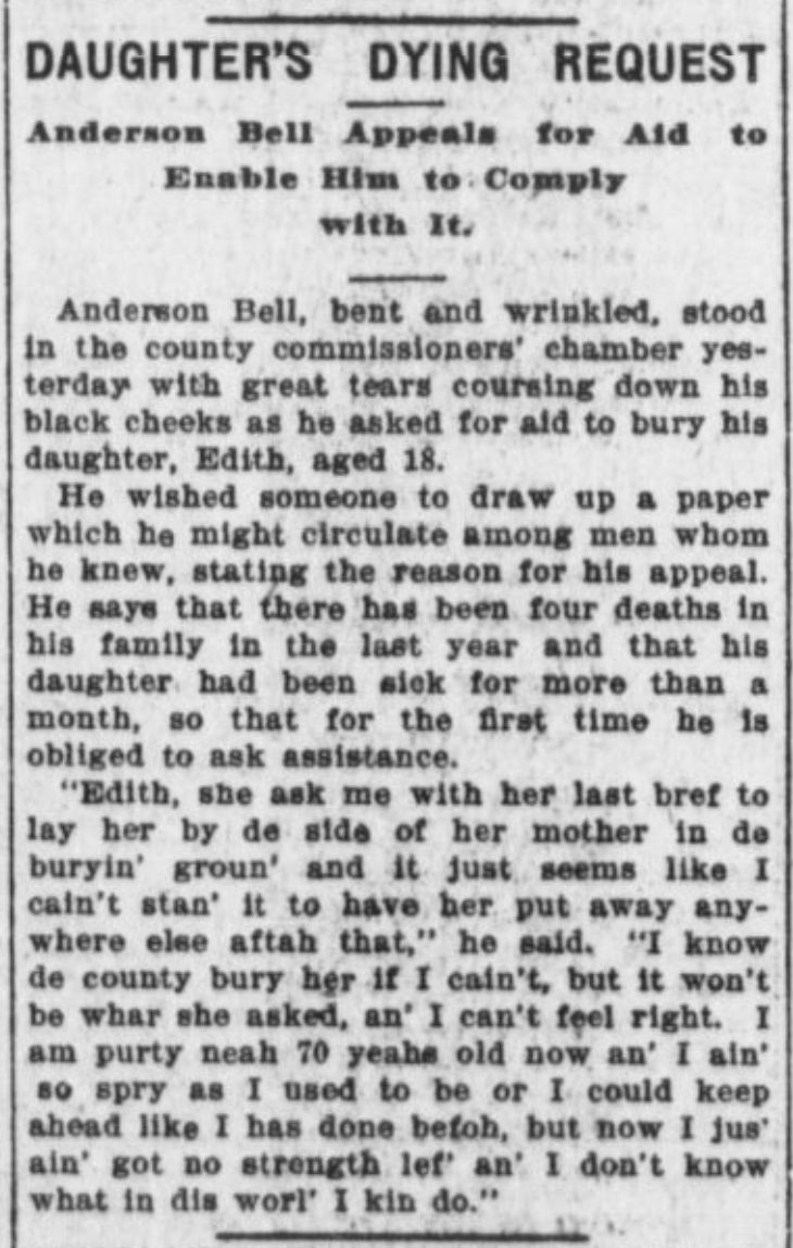 This 1902 newspaper article about Anderson Bell and his recently deceased daughter Edith appeared in the Omaha Bee on March 15.