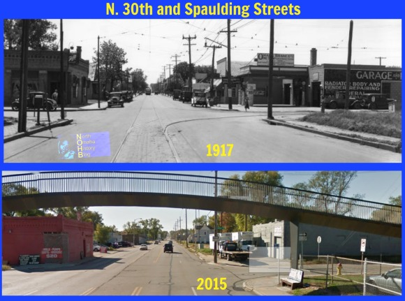 This is a then-and-now comparison of North 30th and Spaulding Streets in 1917 and 2015 by Adam Fletcher Sasse for NorthOmahaHistory.com.
