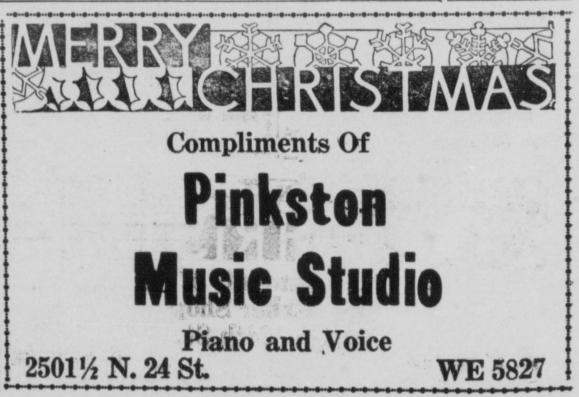Pinkston Music Studio, N. 24th and Lake Street, North Omaha, Nebraska.