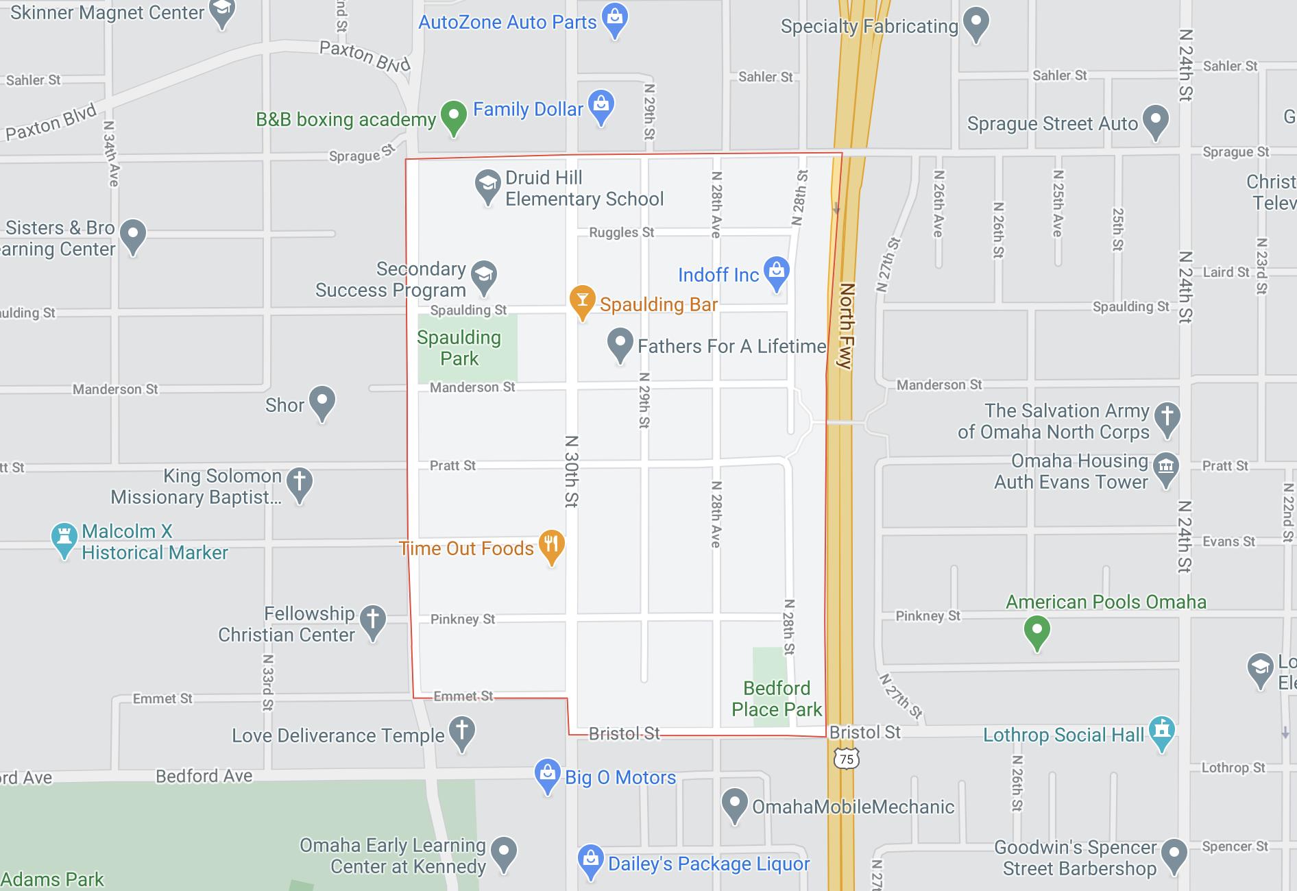 Bedford Place neighborhood in North Omaha, Nebraska