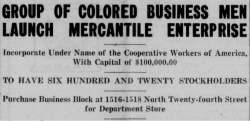 History of the Cooperative Workers of American Department Store in NorthOmaha