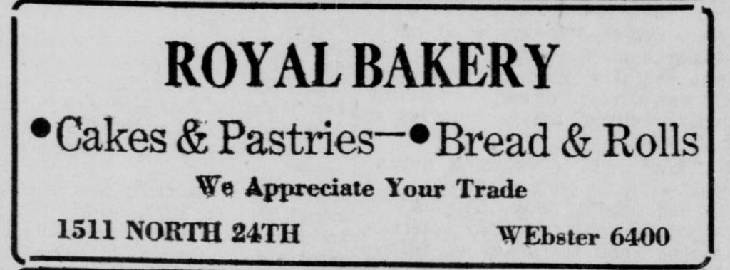 Royal Bakery, 1511 North 24th Street, North Omaha, Nebraska