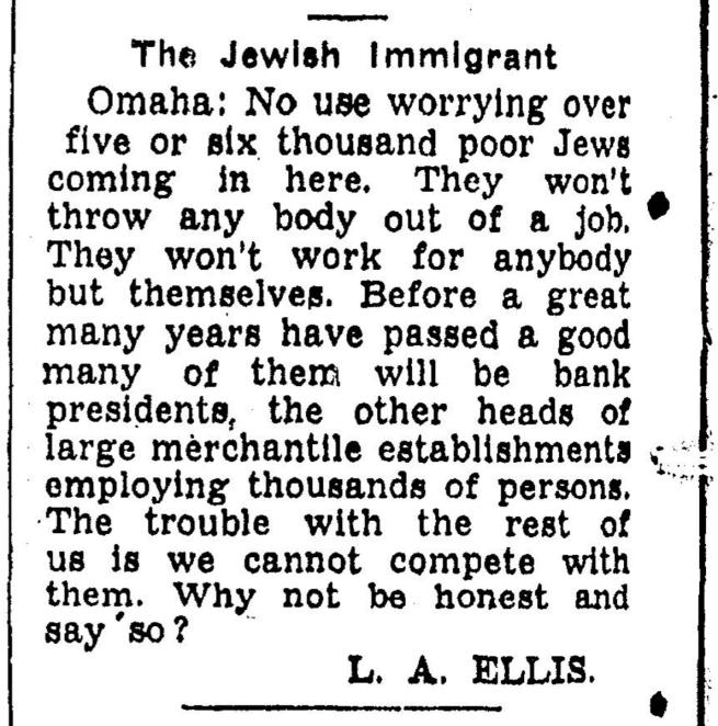 Antisemtic Omaha editoiral September 22, 1938