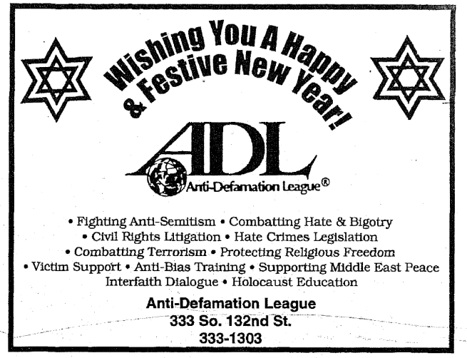 This is a 2000 ad for the Omaha ADL.